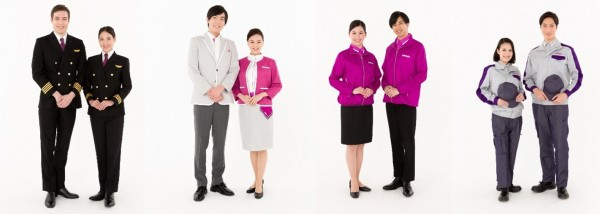 樂桃航空CEO井上慎一今天宣布,樂桃航空邁向開航6周年,制服全新改版。(樂桃提供)