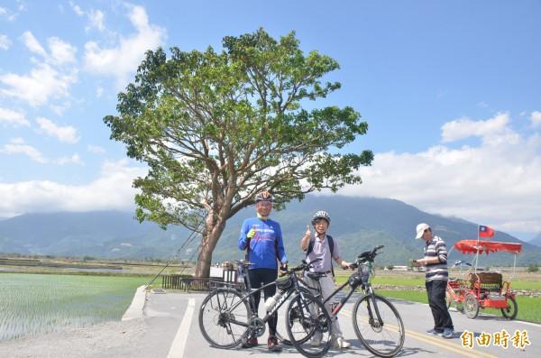 前行政院長游錫堃單車環島,今抵池上,特地到金城武樹下拍照。(記者王秀亭攝)