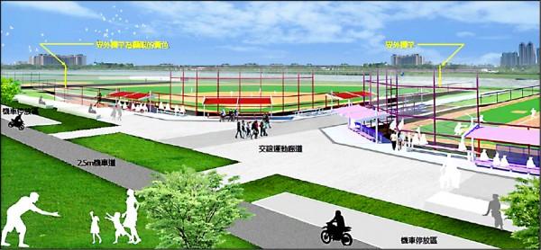 簡易球場完工後的示意圖。(市府提供)