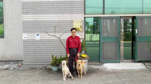 台南市消防局有5個分隊共飼養8隻流浪狗。(記者王俊忠翻攝)