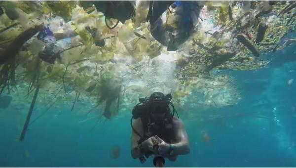 潛水員遭塑膠垃圾包圍,凸顯海洋汙染問題嚴重。(圖片擷取自YouTube)