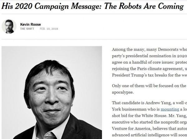 43歲美國企業家楊安澤宣布參選下屆美國總統。(擷取自紐約時報)
