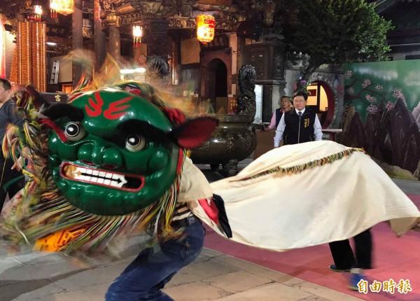 南瑤宮笨港進香本月24日展開,半世紀前的「冠軍獅王」南瑤宮振興社舞獅也將重出江湖,隨香護駕演出。(記者湯世名攝)