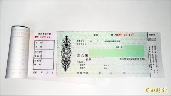 台灣獨創的本票制度因常遭地下錢莊、詐騙集團濫用,甚至成為暴力討債勒索當事人的工具。(資料照,記者吳政峰攝)