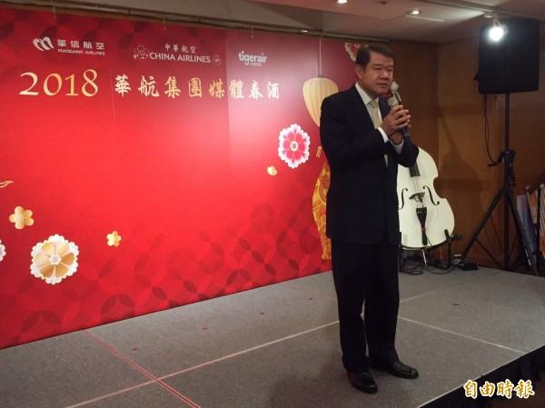華航董事長何煖軒今天表示,對於今年營收仍是非常有信心。(記者陳宜加攝)