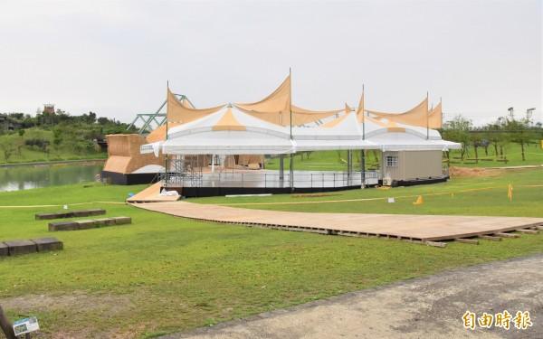 一年一度宜蘭綠色博覽會3月31日登場,各展區正緊鑼密鼓籌備中。(記者張議晨攝)