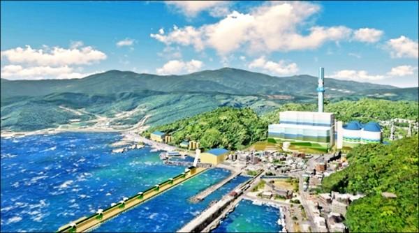 環保署通過深澳燃煤電廠更新擴建環差案,圖為深澳更新計畫完工示意圖。(台電提供)