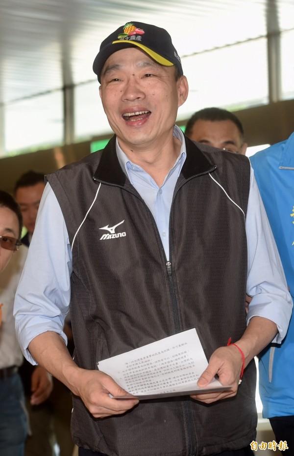 國民黨高雄市黨部主委韓國瑜今天登記參選台北市長,但登記資料不齊備,沒有完成登記程序。(資料照)