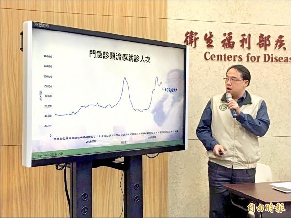 ▲衛福部疾管署疫情中心副主任郭宏偉說明流感疫情。 (記者林惠琴攝)