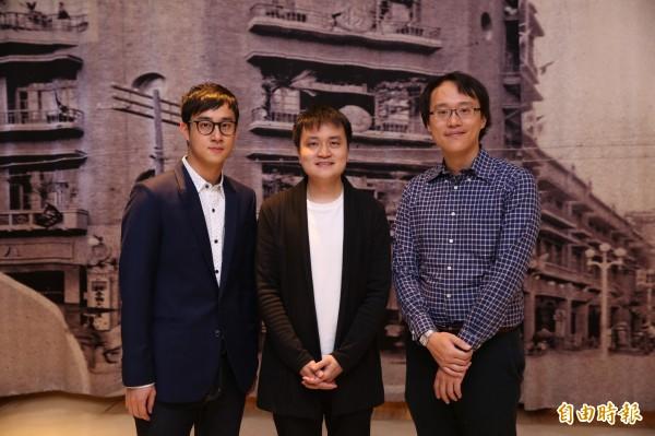 新媒體藝術家林子荃(左起)、王連晟與陳明澤,為「初次見面」開展聚會帶來3場精采演出。(記者潘自強攝)