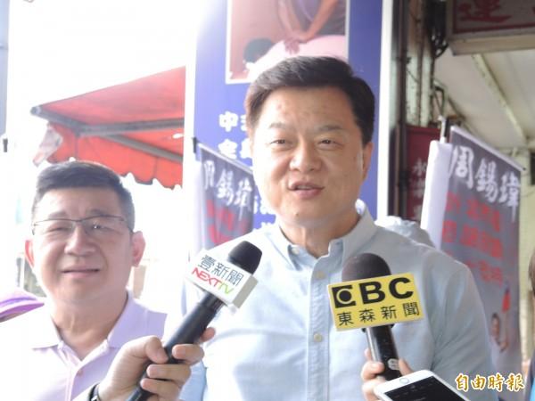 周錫瑋認同侯友宜所言,民進黨故意把侯的民調捧高,再來打垮他。(記者翁聿煌攝)