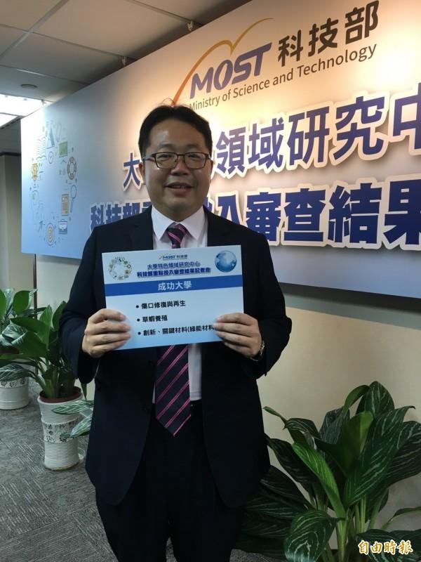 成功大學研發長謝孫源表示,中國經費規模雖大,但競爭人口也多,台灣教授過去不一定能分一杯羹。(記者蕭玗欣攝)