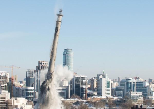 位於俄羅斯第四大城葉卡特琳堡的電視塔,是世界上最高的廢棄建築物,上週因當地政府重整市容,而遭爆破拆除。(路透)(記者羅綺攝)