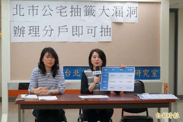 北市議員王鴻薇(右)質疑公宅抽籤抽簽有漏洞。(記者蕭婷方攝)