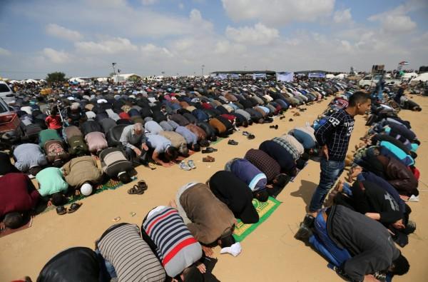 大批巴勒斯坦群眾就地進行祈禱活動,希望能返回家園。(路透)