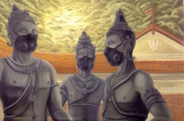 泰國雜誌網站刊登一幅古代國王戴上口罩的圖,清邁州長譴責「非常不敬」,恐對該編輯提告。(圖擷取自khaosodenglish.com)