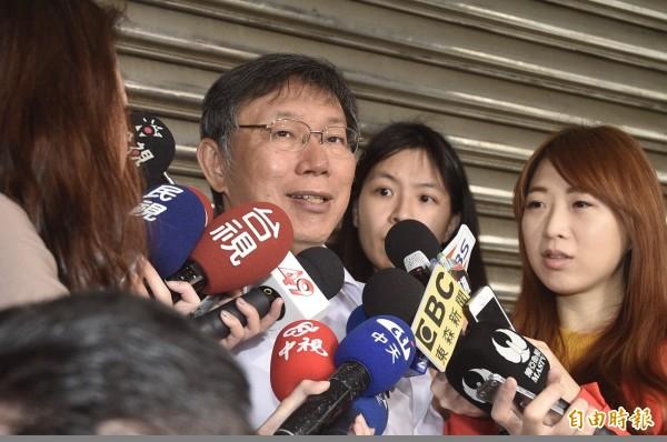 台北市長柯文哲認為侯友宜不是跨越藍綠,而是一開始就沒有藍綠。(記者叢昌瑾攝)