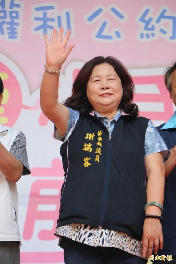 苗栗縣議員謝端容參選竹南鎮長意願強烈。(記者鄭名翔攝)