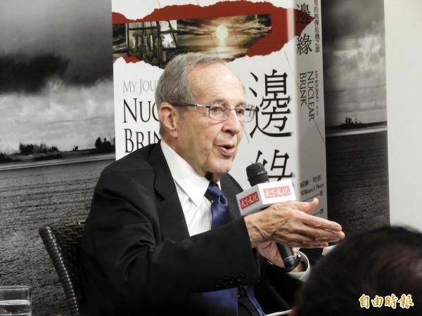 美國前國防部長威廉‧培里(William J. Perry)來台為新書「核爆邊緣」宣傳。(記者陳鈺馥攝)