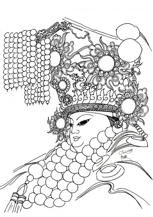 黃朱平利用黑白線條手繪各地媽祖。(圖為彰化南瑤宮,黃朱平提供)
