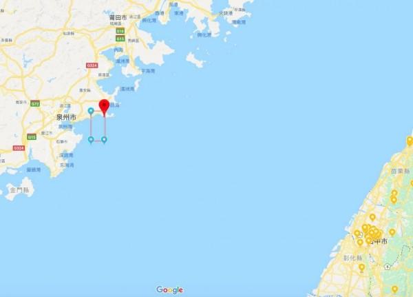 中共解放軍18日將在台海水域進行實彈射擊軍演。(擷自googlemap)