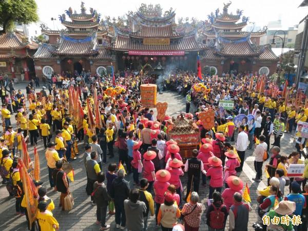 台中市東區樂成宮「遶境大屯十八庄」已有197年歷史。(記者張瑞楨攝)