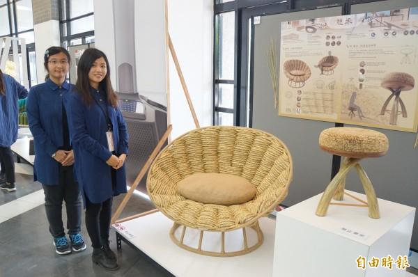 工業設計系學生設計出的家具,採環保自然材質製作。(記者詹士弘攝)