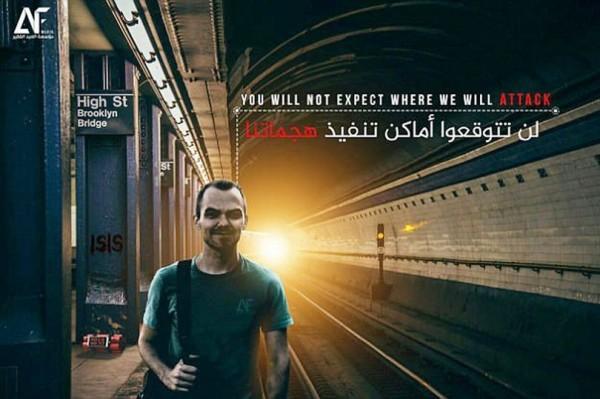 「伊斯蘭國」(ISIS)近日又發出海報,稱可能攻擊紐約地鐵站。(圖片擷取自鏡報)
