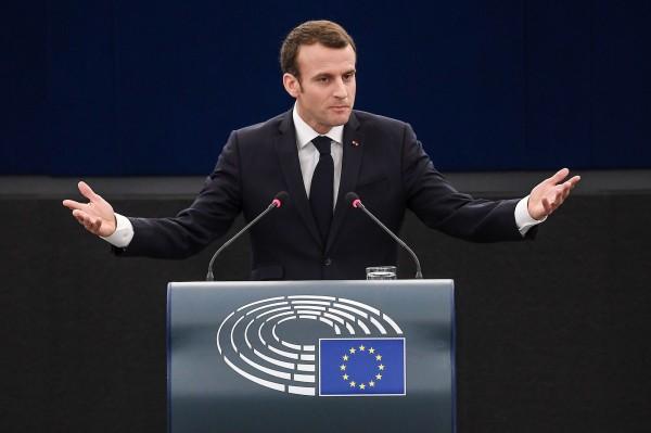 法國總統馬克宏歐洲議會發表演說時表示,「歐洲目前看似也有內戰」,並同時譴責歐洲近期高漲的民族主義。(法新社)