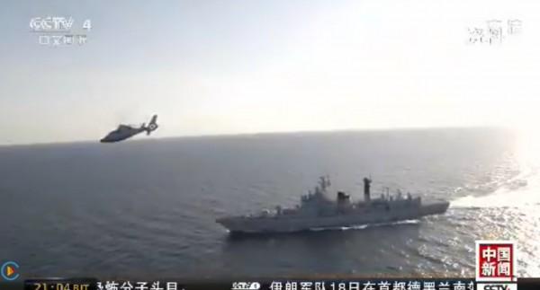中共解放軍18日在台灣進行軍演,央視在深夜時段才放出部分演練畫面。(圖擷自CCTV)