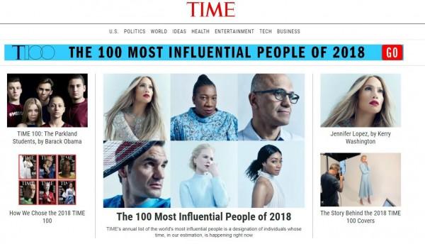 美國《時代雜誌》公布百大人物,其中美國總統川普、北韓領導人金正恩、南韓總統文在寅等人都名列榜上。(圖翻攝自TIME)