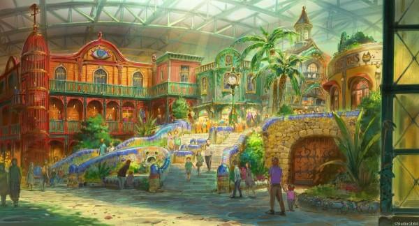 原先為溫水游泳池的土地,將改造成「吉卜力大倉庫區」,裡面設有影像展示室、孩童遊樂場等。(圖擷自大村秀章Twitter)