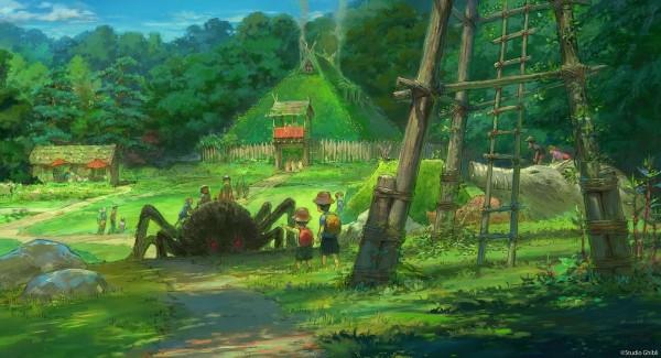 「魔法公主故鄉區」再造《魔法公主》中的「達達拉城」。(圖擷自大村秀章Twitter)