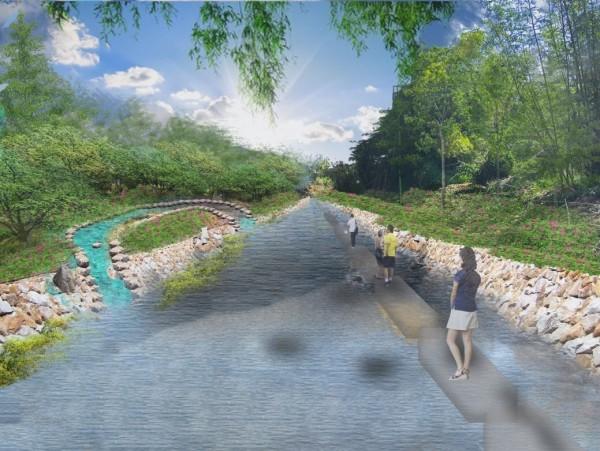 南勢溪環境模擬圖。(圖由台中市水利局提供)
