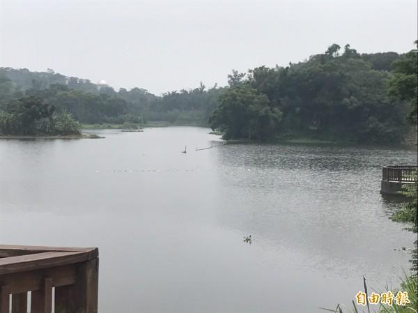新竹市政府城銷處執行布袋蓮的斷袋計劃,讓青草湖的湖光山色重現。(記者洪美秀攝)