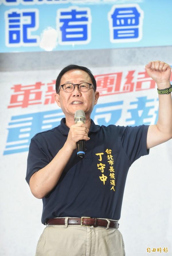 國民黨台北市黨部2日舉行記者會,宣布台北市長候選人初選民調結果,由丁守中出線。(記者方賓照攝)