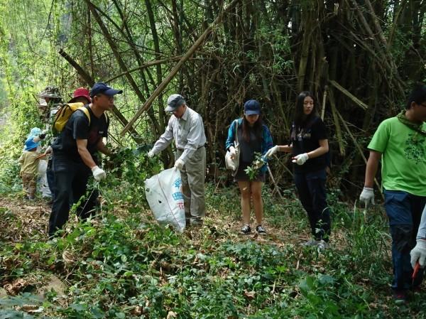 農業局在大肚區瑞井步道舉辦移除外來入侵植物教育訓練活動。(農業局提供)