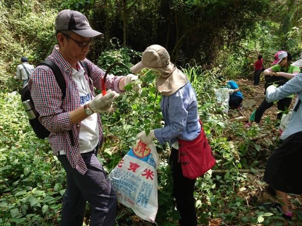 參與活動的民眾以鐮刀等清除外來入侵植物。(農業局提供)