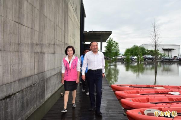 國民黨新北市長參選人侯友宜赴宜蘭與同黨縣長參選人林姿妙會面。(記者張議晨攝)