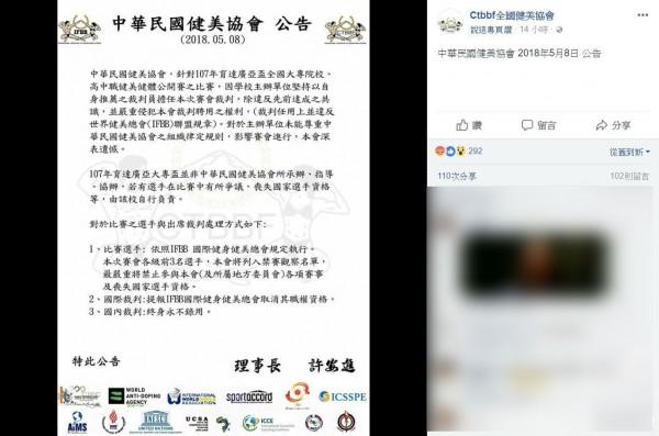 「中華民國健美協會」公告表示,若出席該項賽事的裁判終身永不錄用,得名選手列入禁賽名單引發爭議。(圖擷自臉書粉絲團「Ctbbf全國健美協會」)