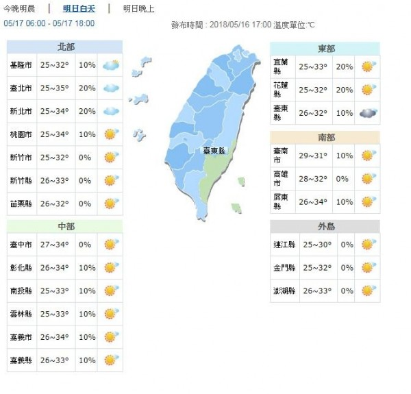 明天白天晴朗炎熱,東半部高溫約32、33度,西半部高溫約31至35度。(圖擷取自中央氣象局)