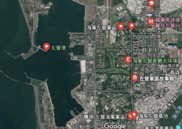 海軍陸戰隊在左營軍區進行兩棲履車水密測試,阿兵哥被捲入機器受傷。(取自Google地圖)