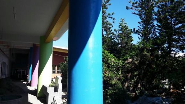中山國小校舍重建工程,所有植栽樹木原地保留。(澎湖縣政府提供)