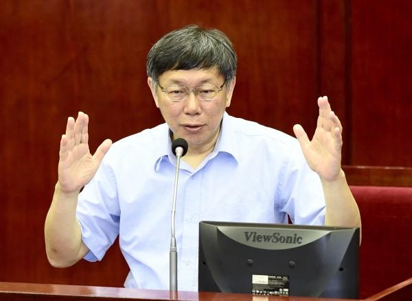 台北市政府先行放寬同志公務員請假規定,圖為台北市長柯文哲。(記者羅沛德攝)