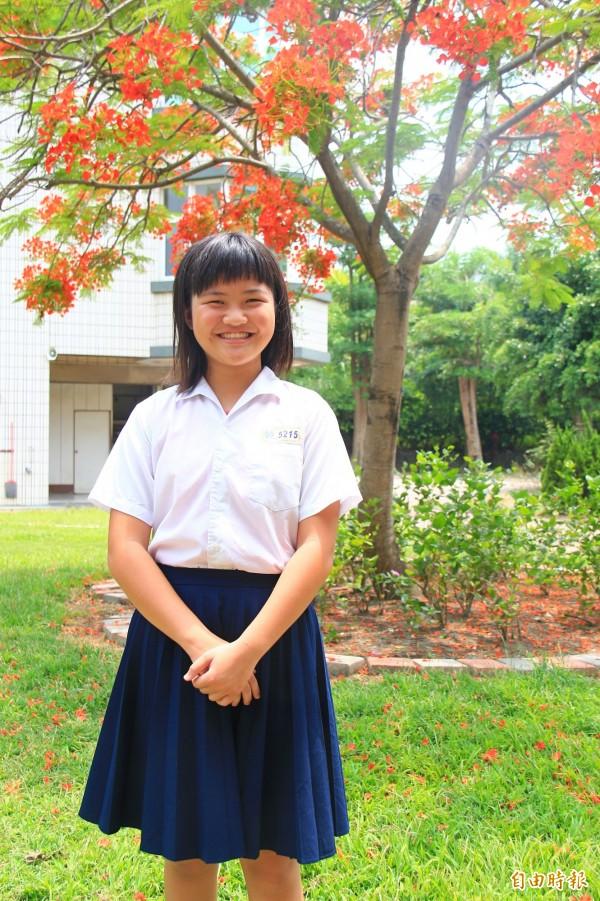 廖妤珊說,勇敢面對困境,也不要輸在起跑點,未來想當老師,用教育翻轉人生。(記者陳冠備攝)