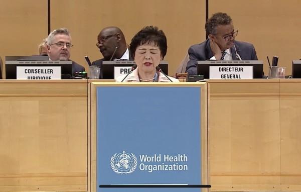 日本厚生勞動副大臣高木美智代在大會發言中含蓄支持台灣參與WHA。(翻攝自WHA轉播畫面)