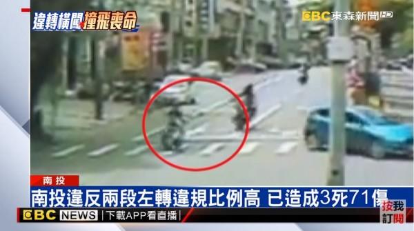 29歲張姓女子騎乘機車從慢車道直接左轉,被後方大型重機撞上。(圖擷自東森新聞)