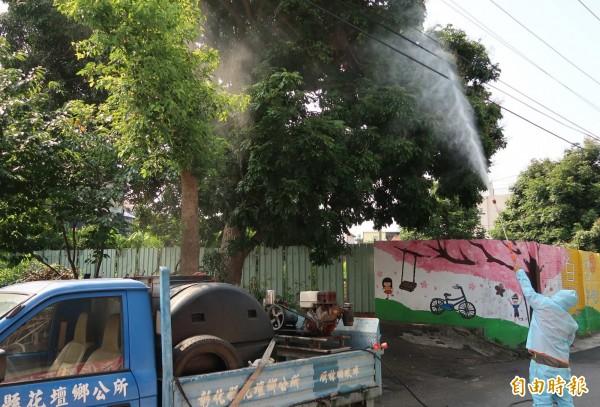 花壇鄉公所今起3天在全鄉噴灑化學藥劑撲殺荔枝椿象。(記者湯世名攝)