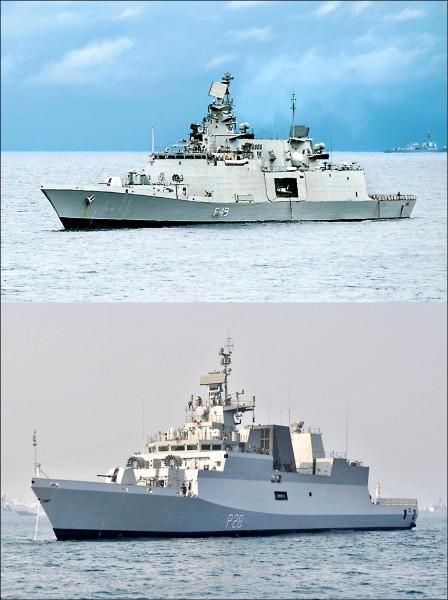 印度與越南海軍二十一日起一連五天在越南蜆港舉行首次海上聯合軍事演習。印度海軍派出匿蹤巡防艦「薩雅德里號」(上圖)、反潛飛彈巡邏艦「格莫爾達號」(下圖)和補給艦「夏克提號」等三艘艦艇參演。(取自網路)