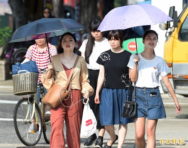 明全台高溫炎熱,紫外線指數強,提醒民眾須注意防曬。(記者朱沛雄攝)